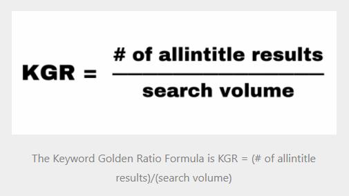 Keyword Golden Ratio Formula